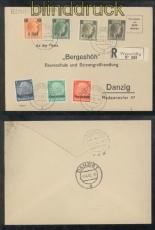 Luxemburg Mi #  2, 3, 5 18, 19, 20 und 22 auf R-Brief Wasserbillig 31.3.1941 (44006)