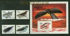 Antigua und Barbuda Mi # 714/17 und Block 71 Wale postfrisch (41410)