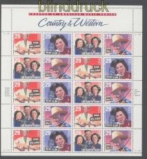 USA Mi # 2376 und 2397/99 postfrischer Zusammendruckbogen Musikgeschichte(46320)