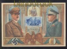 dt. Reich farb-AK Adolf Hitler und Musslini ungebraucht (46886)