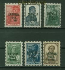dt. Besetzung 2. WK Lettland Mi # 1/6 postfrisch Aufdrucksatz (48405)