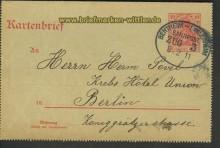 Bentheim-Emlichheim Zug 3 8.2.1911 Kartenbrief (21305)