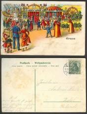 Gruß vom  Jahrmarkt farb-Litho 1907 nach Zetel (d3668)