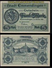 Emmendingen 5 Mark Notgeld 1918 kassenfrisch (30629)
