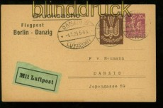 dt. Reich Privat-GSK PP 73 A2/02 Berlin Luftpost 30.6.1923 nach Danzig (40183)