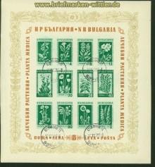 Bulgarien Block   4 Bergblumen und Heilpflanzen gestempelt  (34774)
