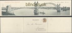 BONN sw-Klapp-Karte Panorama der Bonner Rheinbrücke 1898 (d0214)