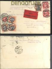 Danzig Mi #  41 I, 54 (3) 63 und 64 (2) auf Eilbotenbrief 1921 (43730)