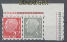 Bund Mi #  182 Y II  postfrisch Heuss I liegendes Wasserzeichen (44650)