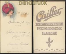 Cailler Präge-Speisekarte Schokolade Pralinen Frauenkopf (45432)