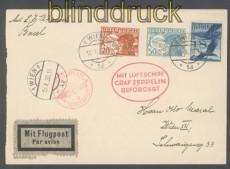 Zeppelinpost LZ 127 Mi # 139 Landungsfahrt Basel 1930 Zuleitung Österreich (45709)