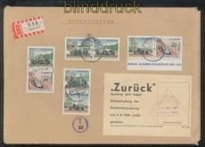Berlin Mi # 397/400 Zusammendrucke aus Block 3 R-Brief in die DDR zurück (45726)