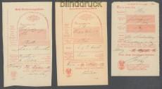 Preussen Hemer drei Postscheine aus den Jahren 1863 - 1867 (45742)