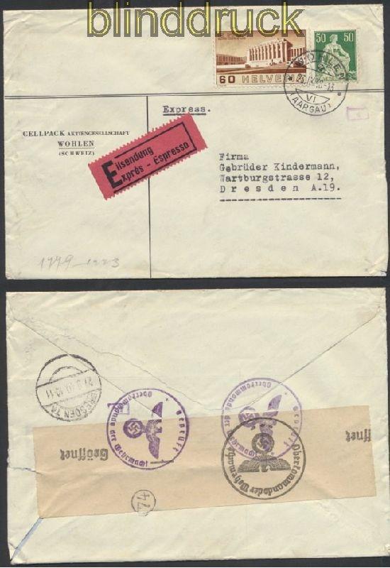 Schweiz Auslands Eil Zensur Brief Wohlen 1940 Deutsche Zensur 44965