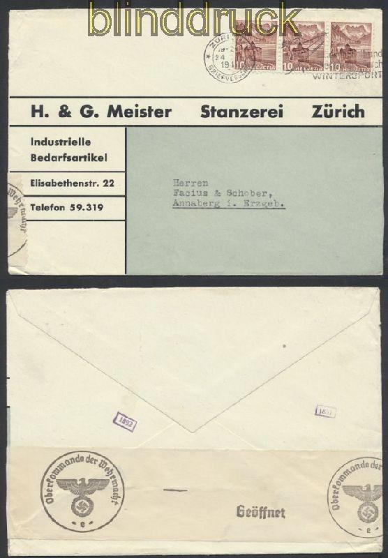 Schweiz Auslands Lupo Zensur Brief Zürich 1941 Deutsche Zensur 44955
