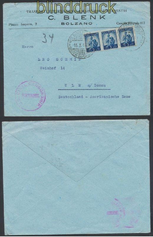 Italien Auslands Zensur Brief Firenze 1947 Alliierter Zensur 44925