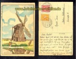Windmühle gezeichnete farb-AK 1922  (d1008)