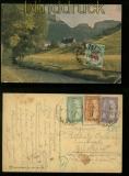 Ungarn Mi # 364, 365 und 366 auf Künstlerkarte mit Nachporto belegt 1924 (40336)