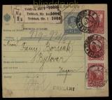 Österreich Postbegleitadresse für 3 Pakete Trebitsch 1914 (29067)