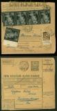 Ungarn Mi # 695 (5) und 712 Zusatzfrankatur auf Paketkarte Inlandspaket 1943 (40328)