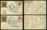 Österreich 2 dekorative Firmen-Postkarten Wien 1906 (41337)