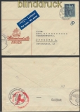 Schweiz Auslands-LuPo-Zensur-Brief Zürich 1942 Deutsche Zensur (44960)