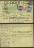 dt Reich Auslands-Paketkarte Mi # 71, 72 + 76 (11257)