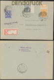 Bi-Zone Mi # 45 I Oberrand Walze MiF R-Brief Karlsruhe 1948 (45216)
