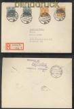 Bi-Zone Mi # 42 I und II mit Mi # 45 I und II auf R-Brief Hamburg 1948 (44219)