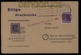 all. Besetzung Bi-Zone Mi # 37 I K EF auf Drucksachenkarte Aachen (31826)