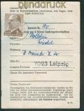 DDR Mi # 1088 EF auf Ausweis Bezug Postwertzeichen (25504)