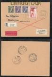 Luxemburg Mi # 22, 26, 27 + 30 MiF Eil-R-Rückschein-Brief 25.1.1941 nach Stuttgart (43017)