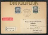 Luxemburg Mi #  2 + 13 MiF R-Brief 11.2.1941 nach Dessau (43034)