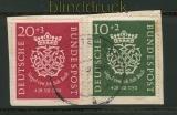 Bund Mi #  121/22 gestempelt Bachsiegel Briefstück (25595)