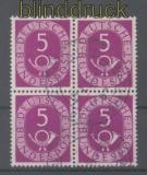 Bund Mi #  125 gestempelter 4er-Block 5 Pfg. Posthorn (35672)
