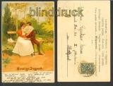 Selige Jugend farb-Künstler-Karte 1902 Bahnpost (d4031)