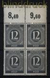 all. Besetzung Mi # 920 a Oberrand Platte dgz postfrischer 4er-Block (32384)