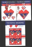 Palau 2011 Hochzeit Prinz William und Catherine Middleton 1 Klbg. und 2 Blöcke (29916)