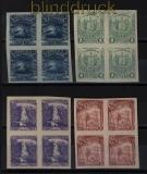 El Salvador Mi # 141, 142, 144 und 149 ungezähnte 4er-Blöcke (30638)