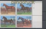 USA Mi # 1767/70 Pferde postfrischer 4er-Block mit Pl.-Nummer (43404)