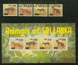 Sri Lanka Mi # 542/45 und Block 14 Einheimische Tiere postfrisch (41428)