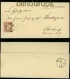 dt. Reich Mi #  19 EF Hannover nach Oldenburg Flecken auf Marke 1874 (35494)