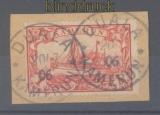 Kamerun Mi # 16 gestempelt Duala 20.07.1906 auf Briefstück signiert (46528)
