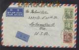 China Mi #  734 und 737 (2) MiF Auslands-Luftpost-Brief Shanghai in USA (47307)