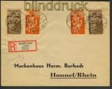 Saargebiet Mi # 171, 172, 199 + 200  R-Brief Schiffweiler 1935 (22013)