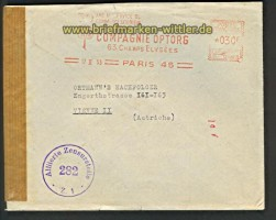 Frankreich Auslands-Zensur-Brief Paris 17.2.1953(21929)