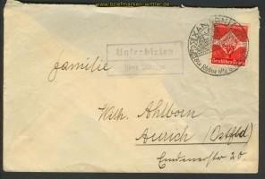 Dt. Reich Landpoststempel Unterbirken über Xante(22189)