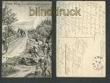 Kämpfe auf der Landstrasse nach Luneville sw-AK (d3425)