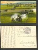 Artillerie suchtnbeue Stellung auf farb-AK 1915 (d3028)