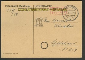 all. Besetzung Bentheim Gebühr bezahlt 1945 (21459)